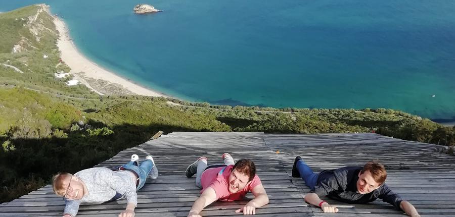 Three Guys of our tour exploring the Arrabida Coast